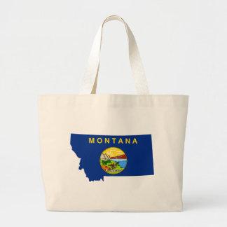 Flag Map Of Montana Large Tote Bag