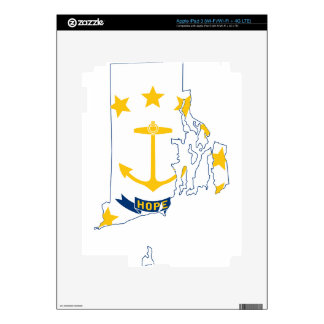Flag Map Of Rhode Island Skin For iPad 3