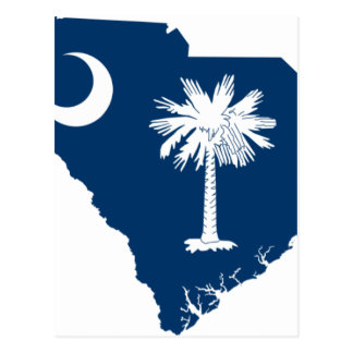 Flag Map Of South Carolina Postcard