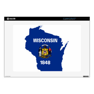 Flag Map Of Wisconsin Skins For Laptops