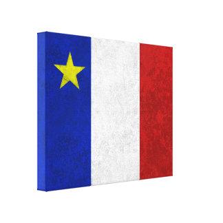 Flag of Acadia Distressed Grunge Canvas Print