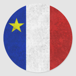 Flag of Acadia Distressed Grunge Classic Round Sticker