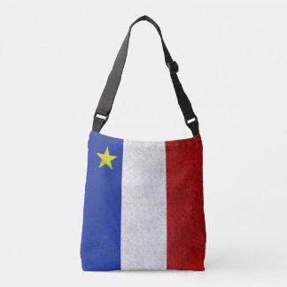 Flag of Acadia Distressed Grunge Crossbody Bag