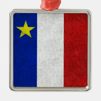 Flag of Acadia Distressed Grunge Ornaments
