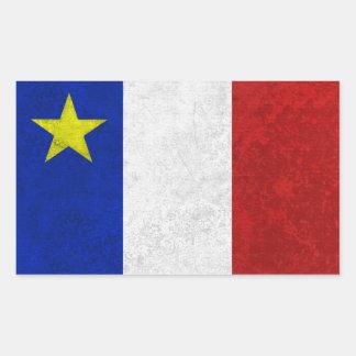 Flag of Acadia Distressed Grunge Rectangular Sticker
