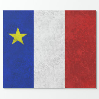 Flag of Acadia Distressed Grunge Sheets Wrapping Paper