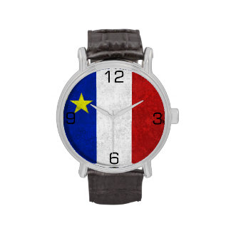 Flag of Acadia Distressed Grunge Wristwatches