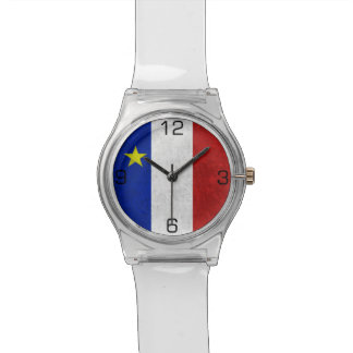Flag of Acadia Distressed Grunge Wrist Watches