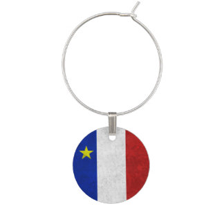 Flag of Acadia Distressed Grunge Wine Glass Charms