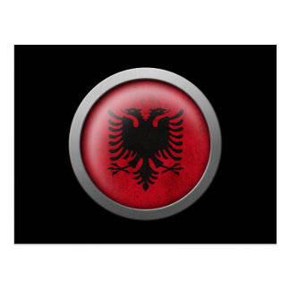 Flag of Albania Disc Postcard