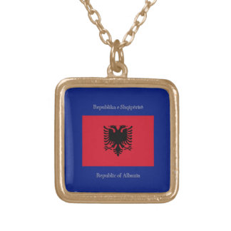 Flag of Albania Gold Plated Necklace