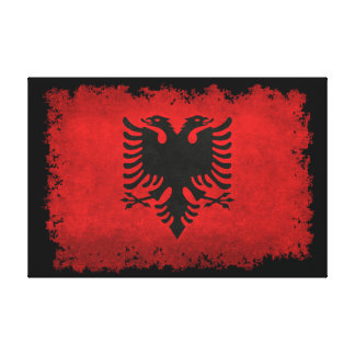 Flag of Albania in vintage retro style on black Canvas Print