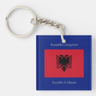 Flag of Albania Double-Sided Square Acrylic Keychain