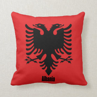 Flag of Albania, labeled Throw Pillow