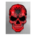 Flag of Albania on a Steel Skull Graphic Postcard