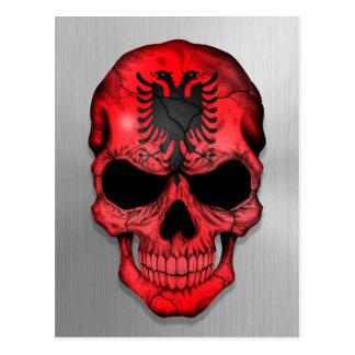 Flag of Albania on a Steel Skull Graphic Postcard