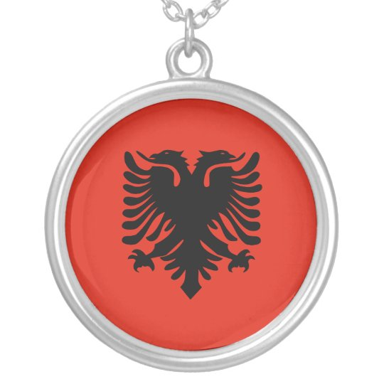 Flag of Albania Silver Plated Necklace