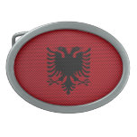 Flag of Albania with Carbon Fiber Effect Oval Belt Buckles
