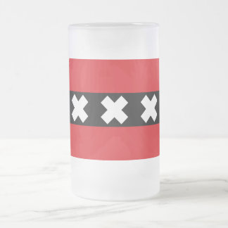 Flag of Amsterdam Frosted Glass Beer Mug