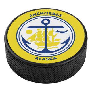Flag of Anchorage, Alaska Hockey Puck