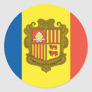 Flag of Andorra Classic Round Sticker