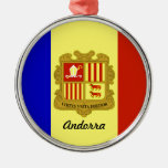 Flag of Andorra Round Metal Christmas Ornament