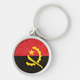 Flag of Angola Silver-Colored Round Keychain