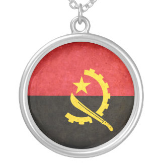 Flag of Angola Round Pendant Necklace
