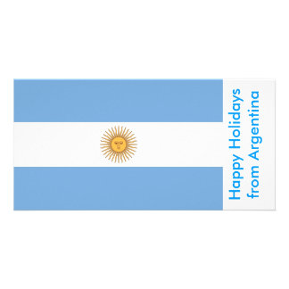 Flag of Argentina Happy Holidays from Argentina Photo Greeting Card