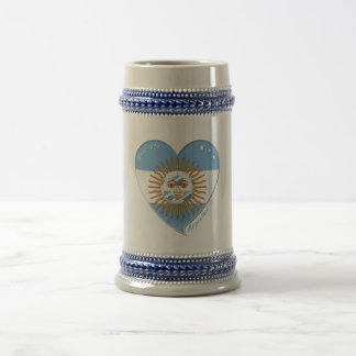 Flag of ARGENTINA national SOCCER May sun Beer Stein