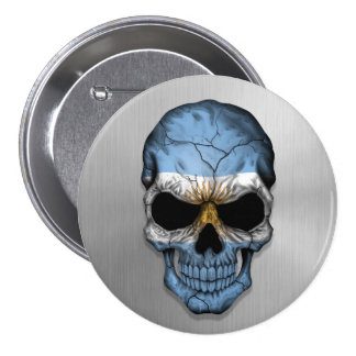 Flag of Argentina on a Steel Skull Graphic Button