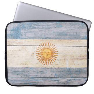 Flag of Argentina on Wood Laptop Sleeve