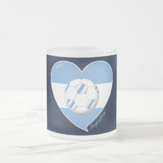 Flag of ARGENTINA SOCCER national team 2014 Frosted Glass Coffee Mug
