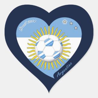 Flag of ARGENTINA SOCCER national team 2014 Heart Sticker