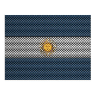 Flag of Argentina with Carbon Fiber Effect Postcard