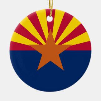 Flag of Arizona Double-Sided Ceramic Round Christmas Ornament