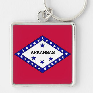 Flag of Arkansas Silver-Colored Square Keychain
