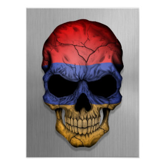 Flag of Armenia on a Steel Skull Graphic Poster