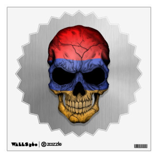 Flag of Armenia on a Steel Skull Graphic Wall Decal