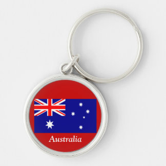 Flag of Australia Silver-Colored Round Keychain