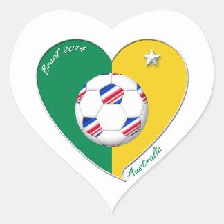 Flag of AUSTRALIA SOCCER national team 2014 Heart Sticker