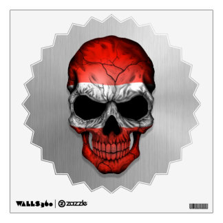 Flag of Austria on a Steel Skull Graphic Wall Decal