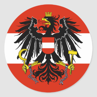 Flag of Austria with Coat of Arms Classic Round Sticker