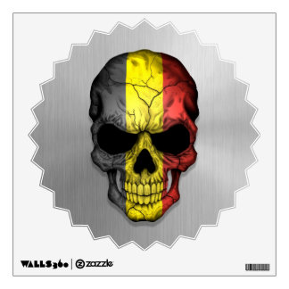 Flag of Belgium on a Steel Skull Graphic Wall Sticker