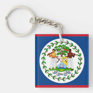 Flag of Belize Double-Sided Square Acrylic Keychain