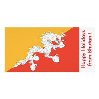 Flag of Bhutan, Happy Holidays from Bhutan Custom Photo Card