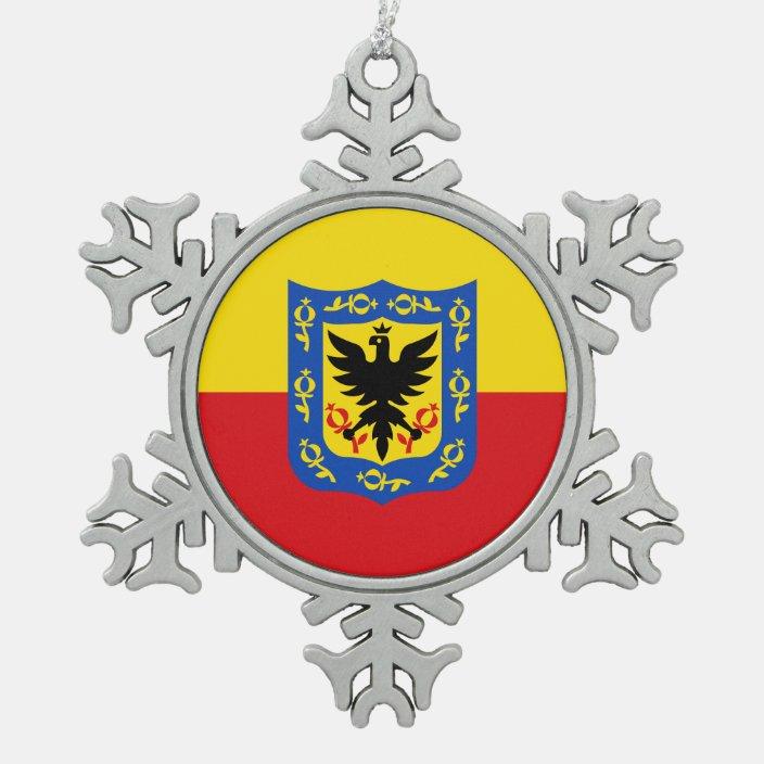 Flag Of Bogota Colombia Snowflake Pewter Christmas Ornament Zazzle Com