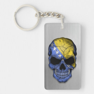 Flag of Bosnia and Herzegovina on a Steel Skull Keychain