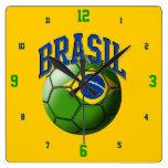 Flag of Brasil Soccer Ball Clock