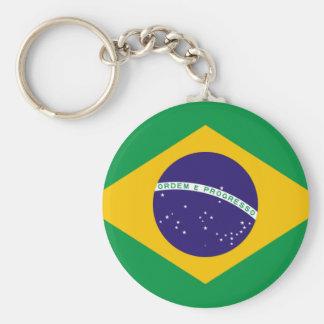 FLAG OF BRAZIL BASIC ROUND BUTTON KEYCHAIN